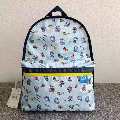 Lesportsac Doraemon 50週年紀念 拉鍊款後背包 降落傘防水包 7812 限量款