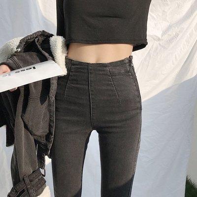 牛仔褲 復古超彈力激瘦高腰修身鉛筆褲小腳褲 艾爾莎【TAE8157】