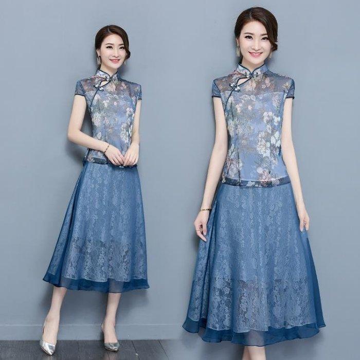 中大尺碼 新款民族風中式唐裝古裝旗袍上衣半身裙禪服兩件套 DN12389
