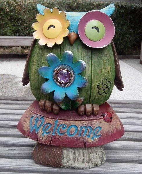【浪漫349】森之彩貓頭鷹系列 之蘑菇WELCOME 撲滿擺飾亮彩寶石