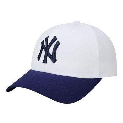 特價【韓Lin連線代購】韓國 MLB --藍色NY刺繡白色棒球帽 CP07 ONE POINT AUTHENTIC