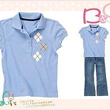 【B& G童裝】正品美國進口Crazy8菱型圖樣藍色短袖polo上衣XS號4-6yrs