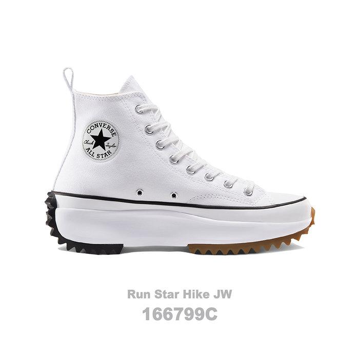 【QUEST】CONVERSE RUN STAR HIKE JW匡威 厚底 鋸齒 高筒 帆布 女 白色 166799C