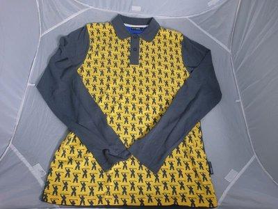 三一元起標 無底價 【GOLF JUNKIE】黃色 圖案長袖POLO衫 SIZE:S -J75