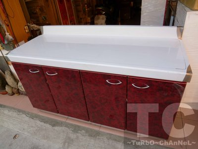 流理台【144公分工作平台】台面&櫃體不鏽鋼 深紅色門板 最新款流理臺