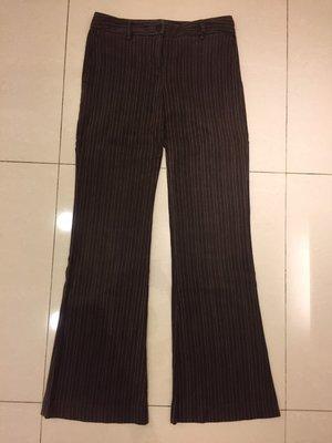KOOKAI 長褲 女生小喇叭褲 小絨布 復古感褲子 69%棉 咖啡色白條紋褲子 衣服 顯瘦褲子 摩洛哥製造 38號尺寸 台北市