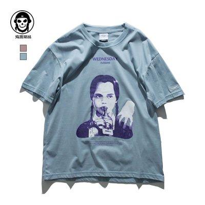 鬼面潮牌 無趣 文化衫人物 滑板街頭半袖體恤夏季創意短袖T恤男女