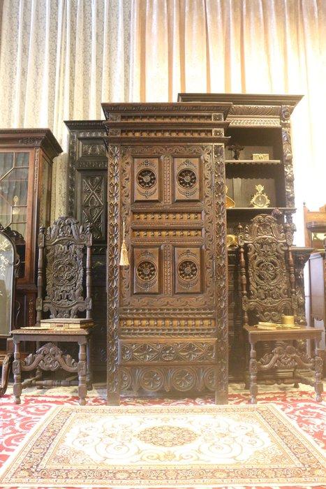 【家與收藏】特價極品稀有珍藏歐洲百年古董法國19世紀博物館級古典精緻手工雕刻老邊櫃/置物櫃