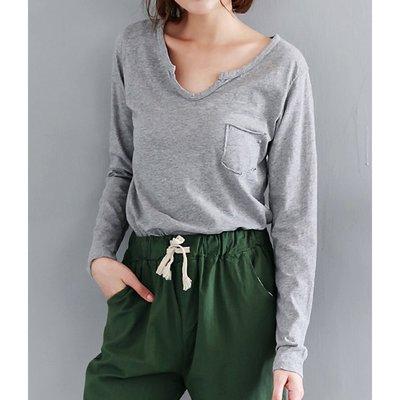 【Hao Da】全館399免運↘「M~XL。現貨」小V領 口袋 竹節棉 休閒長袖 上衣 (C2085)