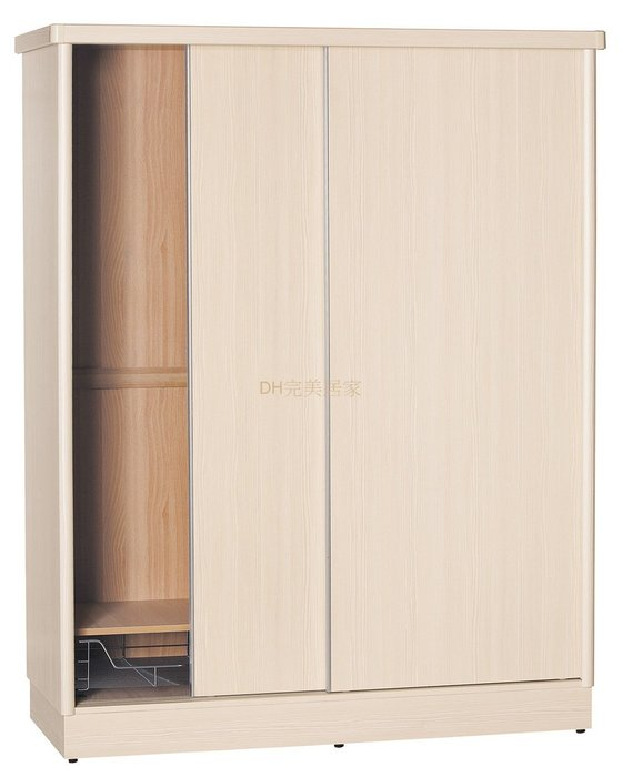 【DH】貨號T4714經典(生活傢)5X7木心板推門衣櫃 含內鏡。 白橡色柚木色雪松色胡桃色山毛櫸色五色可選/台灣製特價