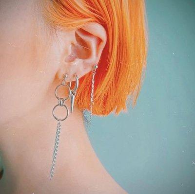 【黑殿】歐美個性金屬圓圈鏈條耳環 不鏽鋼耳環 無耳洞耳環 個性耳環 潮流百搭單品 個性飾品 男女同款情侶耳環EO149