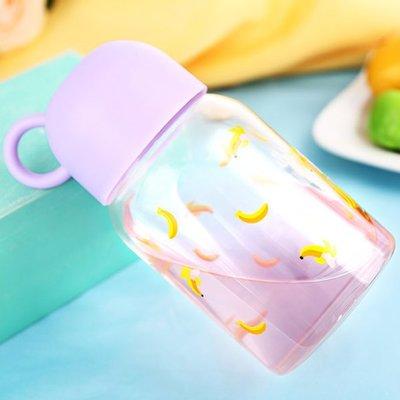 水杯 帶碗水果玻璃杯435ml 高硼硅玻璃 水瓶 瓶子 水壺  隨行杯 寬瓶口 杯套 杯子 泡茶【KCG027】收納女王