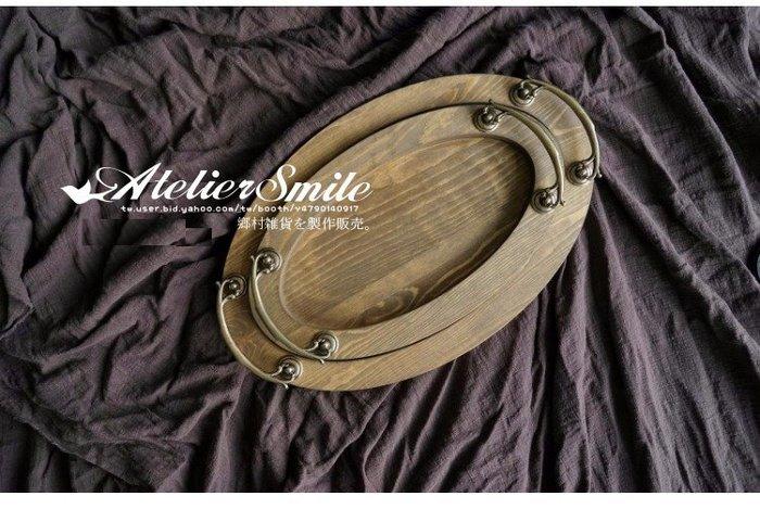 [ Atelier Smile ] 鄉村雜貨  森林系 復古婚禮蛋糕盤 橢圓木製托盤 收納盤 # 小款 (現+預)