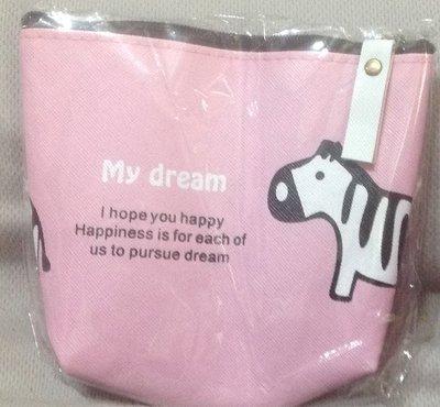 全新My dream粉紅色斑馬零錢包