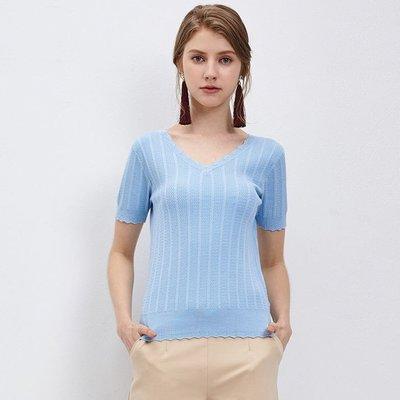 波浪花邊V領針織上衣 M/淺藍 nice ioi 可超商純取貨