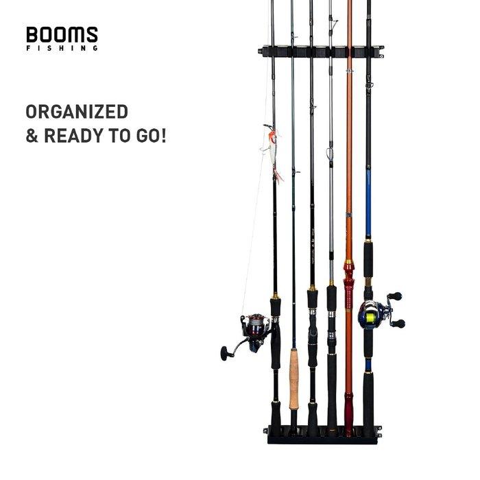 Booms Fishing WV2 6支魚竿收納架 魚竿支架 展示架 釣魚竿海竿路亞竿收納擺放架 家用魚竿墻上安裝支