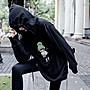 【鈷藍家】暗黑哲學原創高街連帽T恤衛衣女新款春秋小眾設計感oversize中長版潮T上衣cs