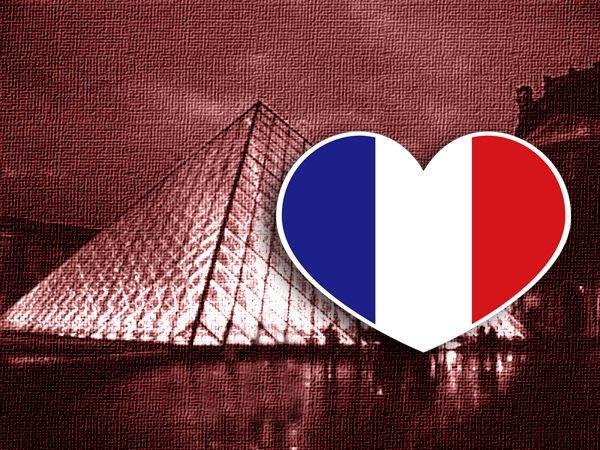 【衝浪小胖】法國旗抗UV、防水愛心形登機箱貼紙/France/各國都有販賣和客製