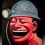 【 金王記拍寶網 】U1273  居家設計風 岳敏君款  手繪油畫原作 油畫一張 罕見 稀少 藝術無價~