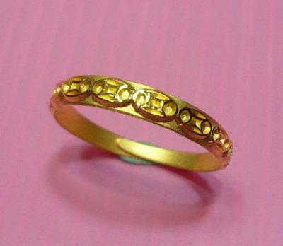 【金飾記錄】【黃金9999】。【純金古錢招財戒指066】可當尾戒平底好戴