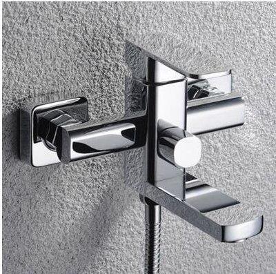 【優上】浴缸水龍頭淋浴花灑套裝全銅冷熱帶下出水 噴頭淋雨混水閥「單龍頭主體方形」