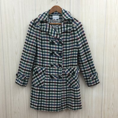 【愛莎&嵐】Lace 女 格紋羊毛排釦大衣外套 / 36 1071126