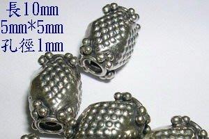 琥珀貓~【925純銀材料配件】造型方珠~鳳梨珠~孔1mm~一個~