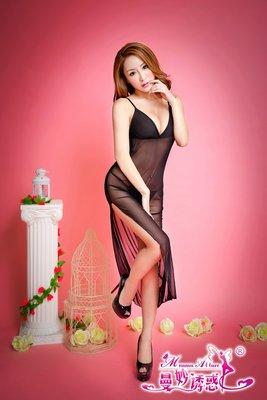 黑色薄紗長版開岔性感睡衣 角色扮演 游戰薄紗 三色可選  5574