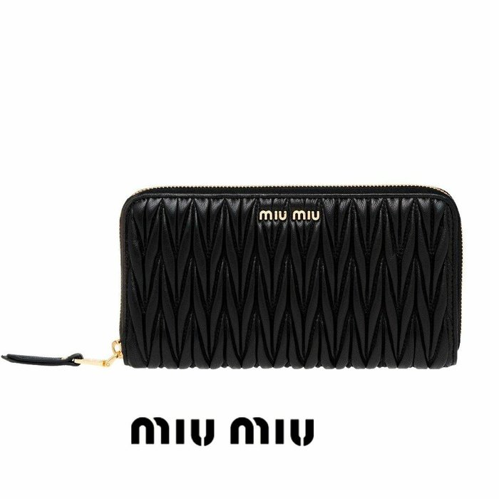 MIU MIU ►( 黑色 × 金屬金色 ) 經典皺摺款  真皮 拉鍊長夾 錢包 皮夾|100%全新正品|特價!