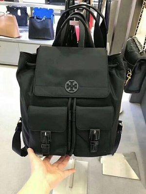 【全新正貨私家珍藏】TORY BURCH Quinn Backpack 新款黑色尼龍雙肩包/背包~