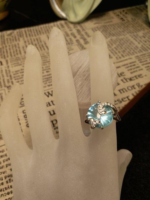 藍拓帕石戒指925純銀鑲鑽 7號戒圍 設計師款藍色多瑙河