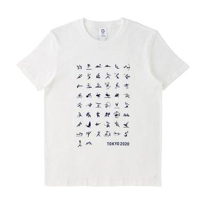 【予約】東京奧運2020年限定紀念品 競技圖案T-shirt(白)