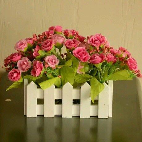 粉紅玫瑰精品屋~歐式家居仿真絹花柵欄套裝~