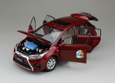 原廠 1/18 豐田TOYOTA YARIS L 致炫 掀背 房車 休旅車 紅色 汽車模型 模型車 合金車 車模