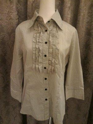 全新品 Atmosphere 女裝 黑白線條摺花 長袖 7分袖襯衫 12/40號  英國帶回 100%純棉