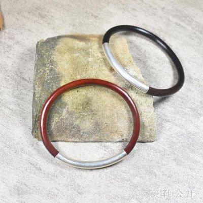 西藏雞血藤手鐲無節925純銀男女款情侶細木手鐲飾品文藝簡約禮物OB5746