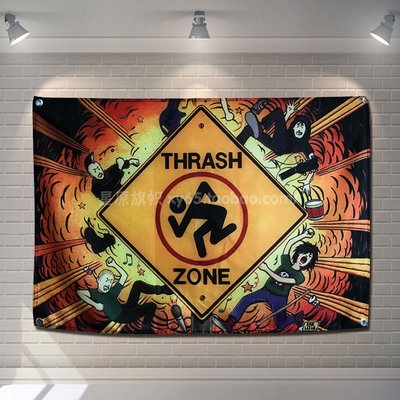 【AMAS】-DRI THRASH ZONE搖滾樂隊裝飾掛旗掛布酒吧工作室琴行背景墻掛布  #【標價為最小號售價】