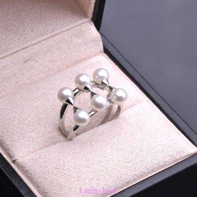 Little-luck~佩卡瑞 淡水珍珠戒指 無瑕正圓可調節指環 個性氣質女情人節禮物