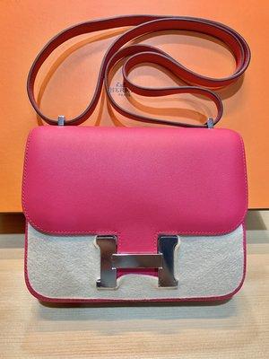 《全新》 Hermes mini Constance C刻 i6 Rose Extreme Swift 銀釦
