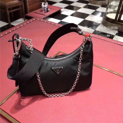 全新正品 PRADA 1BH204女生款 三合一 復古 黑色HOBO包 Re-Edition 2005 Nylon