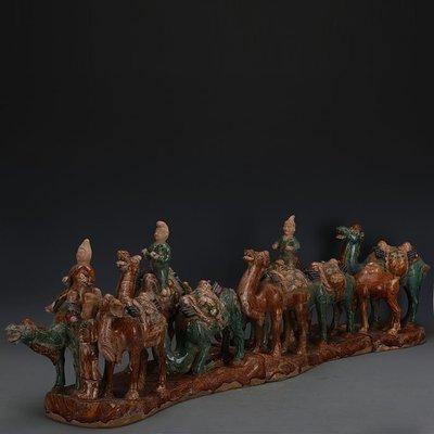 ㊣姥姥的寶藏㊣ 唐三彩絞胎雕塑瓷駱駝絲綢之路  出土文物古瓷器古玩古董復古收藏