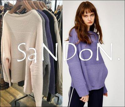 SaNDoN x『MOUSSY』素面條紋理螺紋拼接圓領羊毛針織毛衣上衣 SLY SNIDEL 韓妮 171215