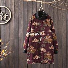 [Margot]時尚原創 半高領大碼衛衣 棉麻寬松印花中長款套頭打底衫秋冬女裝