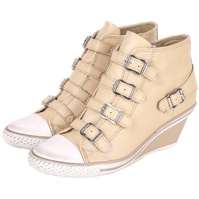 米蘭廣場 ASH GENIAL 經典羊皮釦帶楔型休閒鞋(駝色) 1520450-28
