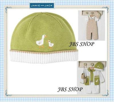 JANIE AND JACK 青草綠鴨媽媽鴨寶寶圖案針織帽子6-12mos **JBS SHOP**