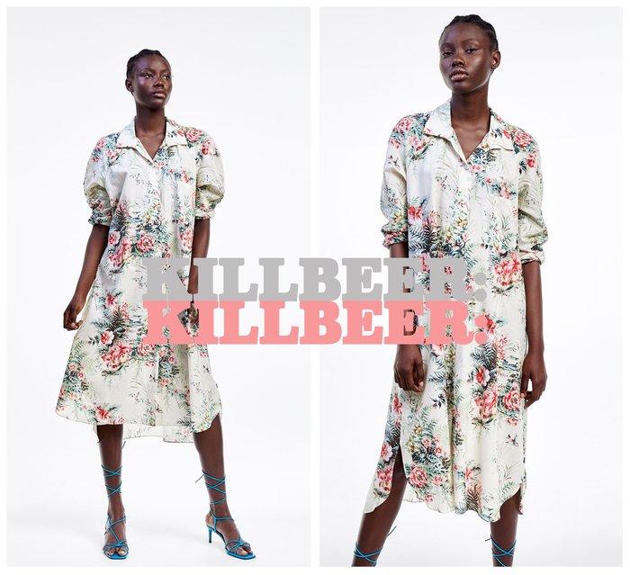 KillBeer:崔姬的花園派對之 歐美復古浪漫度假風花朵印花排扣垂墜感長版襯衫式連身裙洋裝061703