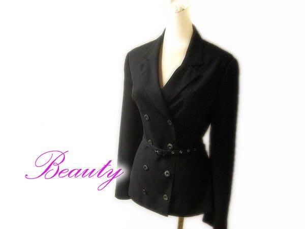 *Beauty*FROU FROU 黑色雙排扣西裝外套 薄款 素材產地:日本 約85新ZGY