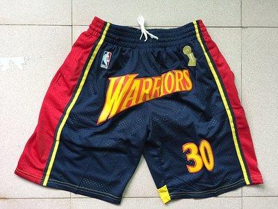 史蒂芬·柯瑞(Stephen Curry)NBA勇士带隊名 口袋版 復古籃球裤 深藍色