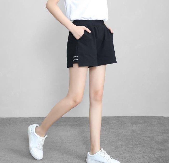 運動短褲LT休閒大碼黑色高腰運動短褲女夏寬鬆跑步闊腿熱褲鬆緊腰