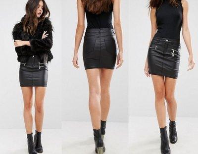 ◎美國代買◎ASOS拉鏈裝飾裙面的騎士搖滾風迷你皮裙皮短裙~歐美街風~有大尺碼喔